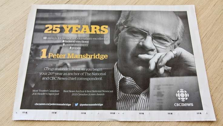Peter Mansbridge: Honoured For 25 Years As A Trusted Voice In Media